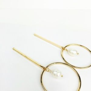 """CLOSET REHAB Jewelry - Gold """"O"""" Drop Earring with Freshwater Pearl"""